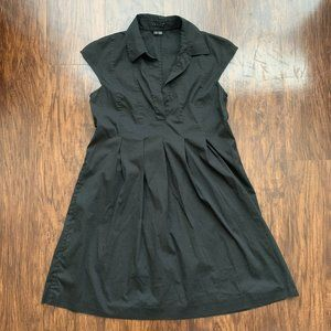 theory fit and flare black dress - size 6